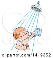 Clipart Of A Cartoon Happy Red Haired Caucasian Boy Holding A Bar Of Soap And Taking A Shower Royalty Free Vector Illustration