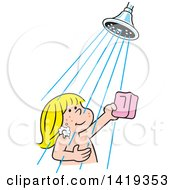 Clipart Of A Cartoon Happy Blond Caucasian Girl Holding A Bar Of Soap And Taking A Shower Royalty Free Vector Illustration by Johnny Sajem