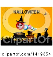 Clipart Of A Silhouetted Cat On A Tombstone By A Pumpkin Cauldron And Bingo Balls Under Halloween Text Royalty Free Vector Illustration by elaineitalia
