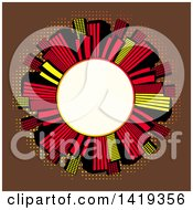 Clipart Of A Blank White Round Frame Encircled With Retro Red Black And Yellow Skyscrapers Over Brown With Dots Royalty Free Vector Illustration