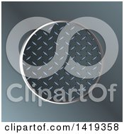 Diamond Plate Metal Round Frame Over Blurred Metal