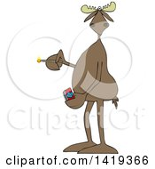 Clipart Of A Cartoon Moose Holding A Lit Match Royalty Free Vector Illustration by djart