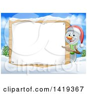 Happy Snowman Wearing A Christmas Santa Hat And Pointing Around A Blank Sign In A Winter Landscape
