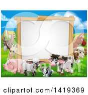 Clipart Of A Blank Sign Board Surrounded By Farm Animals With A House In The Background Royalty Free Vector Illustration