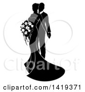 Clipart Of A Black And White Silhouetted Posing Bride And Groom Royalty Free Vector Illustration by AtStockIllustration