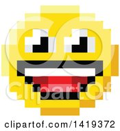 Clipart Of A Laughing 8 Bit Video Game Style Emoji Smiley Face Royalty Free Vector Illustration