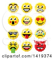 Clipart Of Retro 8 Bit Video Game Style Emoji Smiley Faces Royalty Free Vector Illustration by AtStockIllustration