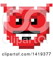Clipart Of A 8 Bit Video Game Style Devil Emoji Smiley Face Royalty Free Vector Illustration by AtStockIllustration