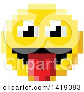 Clipart Of A Silly 8 Bit Video Game Style Emoji Smiley Face Sticking A Tongue Out Royalty Free Vector Illustration