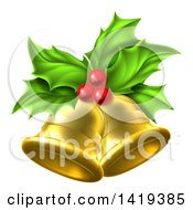 Clipart Of 3d Gold Christmas Bells Holly And Berries Royalty Free Vector Illustration