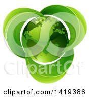 Clipart Of A 3d Shiny Green Earth Globe With Leaves Royalty Free Vector Illustration