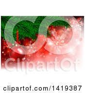 Clipart Of A 3d Red Christmas Bauble On A Tree Branch Over Red With Snowflakes Royalty Free Vector Illustration by AtStockIllustration