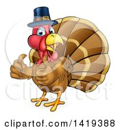 Clipart Of A Cartoon Thanksgiving Turkey Bird Wearing A Pilgrim Hat And Giving Two Thumbs Up Royalty Free Vector Illustration