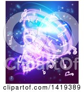 Clipart Of A Vortex Of Music Notes On Blue Royalty Free Vector Illustration by AtStockIllustration