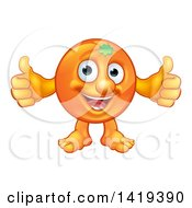 Clipart Of A Cartoon Happy Orange Mascot Giving Two Thumbs Up Royalty Free Vector Illustration