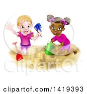 Clipart Of Happy White And Black Girls Playing And Making Sand Castles On A Beach Royalty Free Vector Illustration