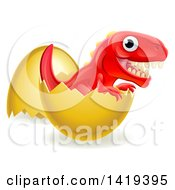 Clipart Of A Cute Red Tyrannosaurus Rex Dinosaur Hatching Royalty Free Vector Illustration by AtStockIllustration