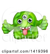 Clipart Of A Cartoon Drooling Three Eyed Green Alien Or Monster Giving Two Thumbs Up Royalty Free Vector Illustration by AtStockIllustration