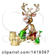 Clipart Of A Happy Cartoon Rudolph Red Nosed Reindeer Making A Sand Castle Royalty Free Vector Illustration