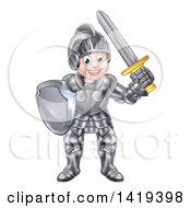 Clipart Of A Happy Knight Boy In Full Armour Royalty Free Vector Illustration