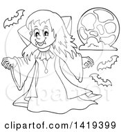 Clipart Of A Black And White Lineart Vampire Girl With Bats And The Moon Royalty Free Vector Illustration