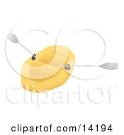 Yellow Canoe With Paddles Clipart Illustration