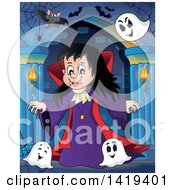 Clipart Of A Vampires Girl With Bats And Ghosts In A Hallway Royalty Free Vector Illustration by visekart