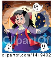 Clipart Of A Vampires Girl With Bats And Ghosts Near A Haunted House Against A Full Moon Royalty Free Vector Illustration by visekart