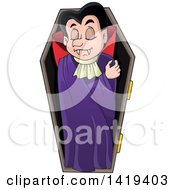 Clipart Of A Sleeping Vampire In A Coffin Royalty Free Vector Illustration