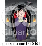 Clipart Of A Sleeping Vampire In A Coffin In A Hallway Royalty Free Vector Illustration by visekart