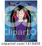 Clipart Of A Sleeping Vampire In A Coffin In A Hallway Royalty Free Vector Illustration