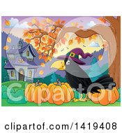 Clipart Of A Halloween Crow Bird Wearing A Witch Hat By Pumpkins Under An Autumn Tree With A Haunted House In The Background Royalty Free Vector Illustration by visekart