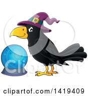 Clipart Of A Halloween Crow Bird Wearing A Witch Hat By A Crystal Ball Royalty Free Vector Illustration by visekart