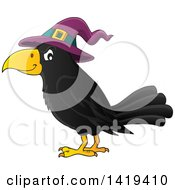 Clipart Of A Halloween Crow Bird Wearing A Witch Hat Royalty Free Vector Illustration by visekart