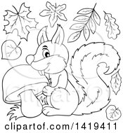 Clipart Of A Black And White Lineart Happy Squirrel With A Mushroom And Fall Leaves Royalty Free Vector Illustration