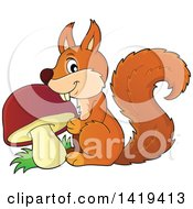 Clipart Of A Happy Squirrel With A Mushroom Royalty Free Vector Illustration