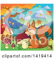 Clipart Of A Happy Squirrel With A Mushroom In An Autumn Park Royalty Free Vector Illustration by visekart