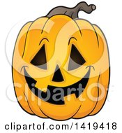 Clipart Of A Carved Halloween Jackolantern Pumpkin Royalty Free Vector Illustration
