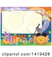 Clipart Of A Blank Rectangular Frame With A Bat Autumn Leaves And Witch Cat In A Halloween Jackolantern Pumpkin Royalty Free Vector Illustration by visekart