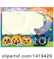Clipart Of A Blank Rectangular Frame With A Witch Cat And Halloween Jackolantern Pumpkins Royalty Free Vector Illustration by visekart