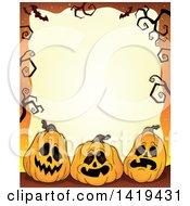 Halloween Background Border Frame Of Jackolantern Pumpkins Bats And Bare Tree Branches Over Orange