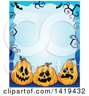 Halloween Background Border Frame Of Jackolantern Pumpkins Bats And Bare Tree Branches Over Blue