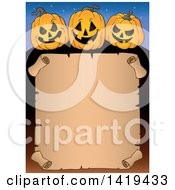 Clipart Of A Halloween Blank Scroll Sign Bordered With Jackolantern Pumpkins Royalty Free Vector Illustration