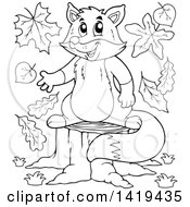 Clipart Of A Black And White Lineart Fox Presenting On A Stump Royalty Free Vector Illustration by visekart