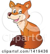 Clipart Of A Happy Cute Fox Sitting Royalty Free Vector Illustration