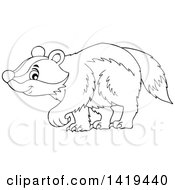 Clipart Of A Black And White Lineart Cute Happy Badger Walking Royalty Free Vector Illustration by visekart