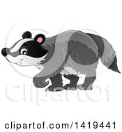 Clipart Of A Cute Happy Badger Walking Royalty Free Vector Illustration
