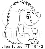 Clipart Of A Black And White Lineart Cute Happy Hedgehog Royalty Free Vector Illustration by visekart