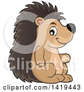 Clipart Of A Cute Happy Hedgehog Royalty Free Vector Illustration