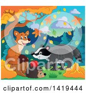 Clipart Of A Cute Fox Hedgehog And Badger In An Autumn Landscape Royalty Free Vector Illustration by visekart